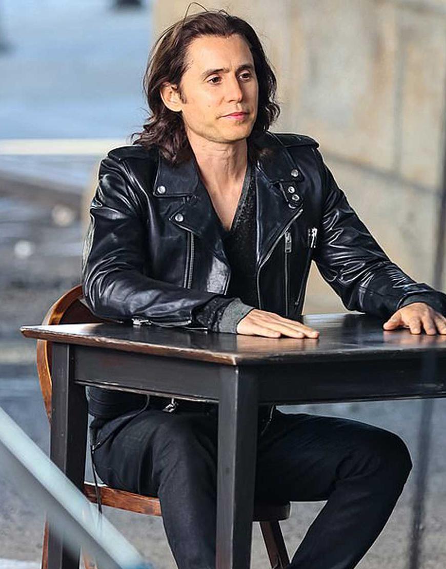 Adam Neumann WeCrashed 2022 Jared Leto Black Leather Jacket
