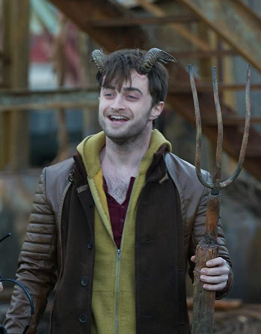 Daniel Radcliffe Horns Brown Leather Jacket