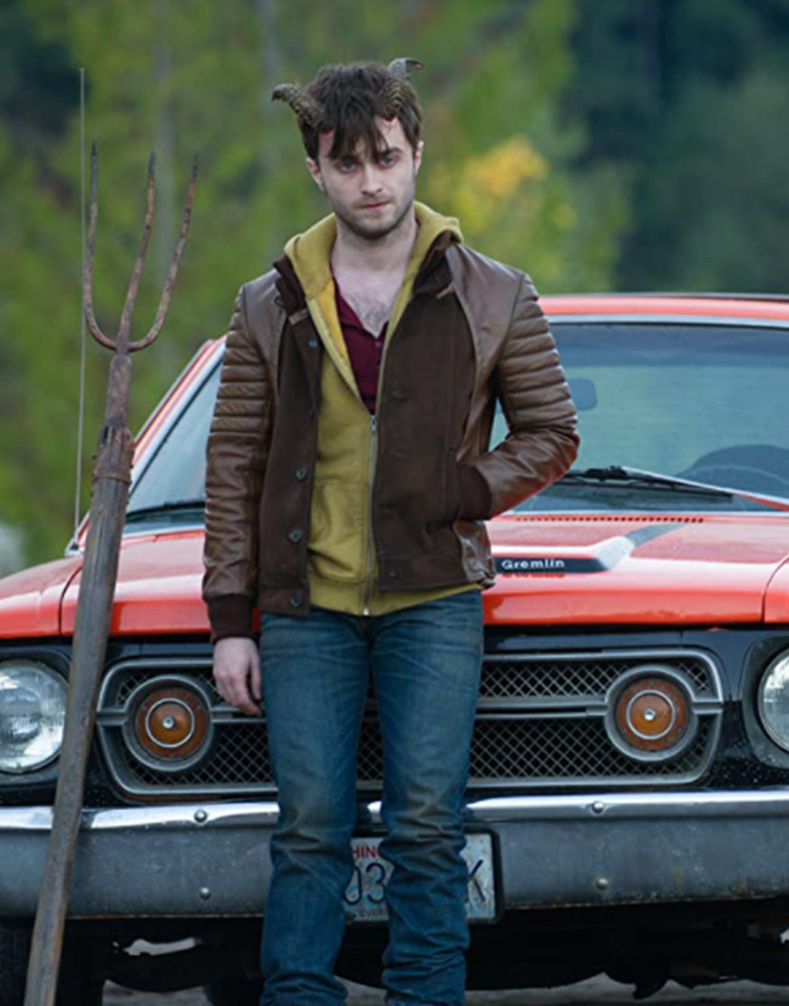 Daniel Radcliffe Horns IG Perrish Brown Leather Jacket
