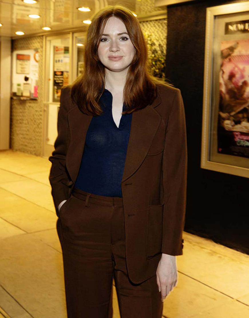 Gunpowder Milkshake Karen Gillan Brown Coat