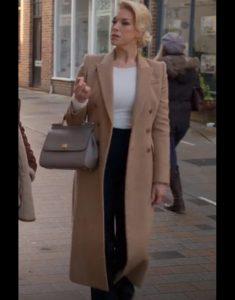 Hannah Waddingham Ted Lasso Rebecca Welton Brown Woolen Coat