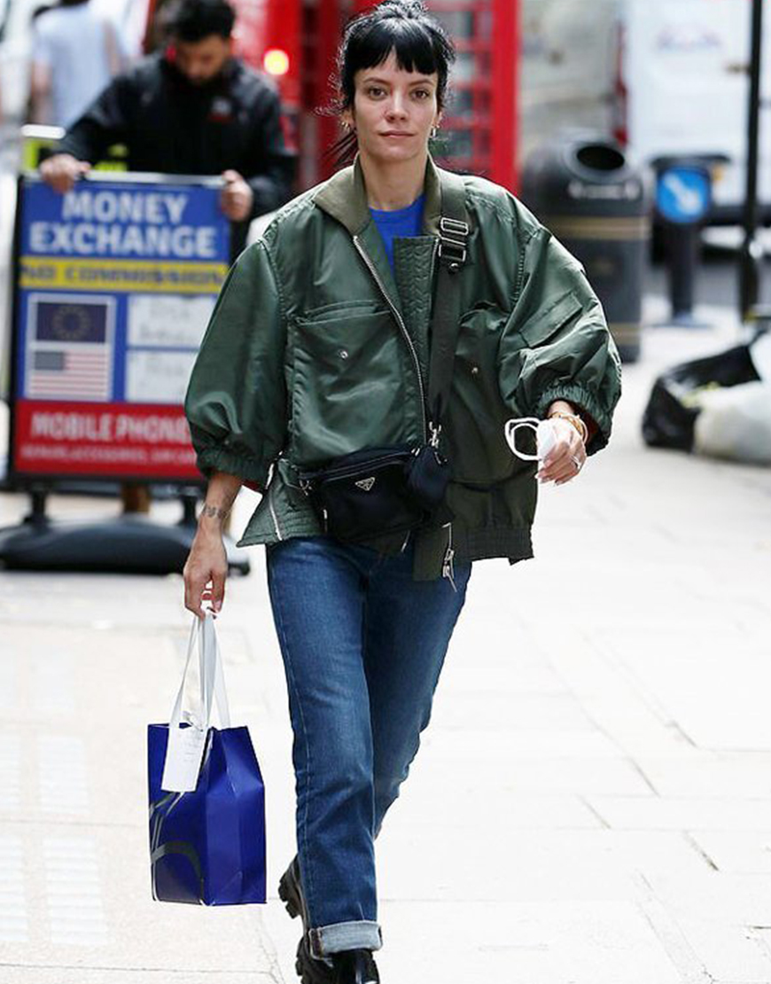 Lily Allen Green Bomber Jacket