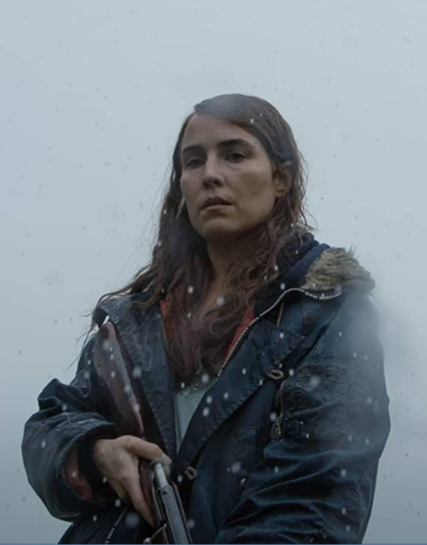 Maria TV-Series Lamb 2021 Noomi Rapace Black Fur Hooded Jacket
