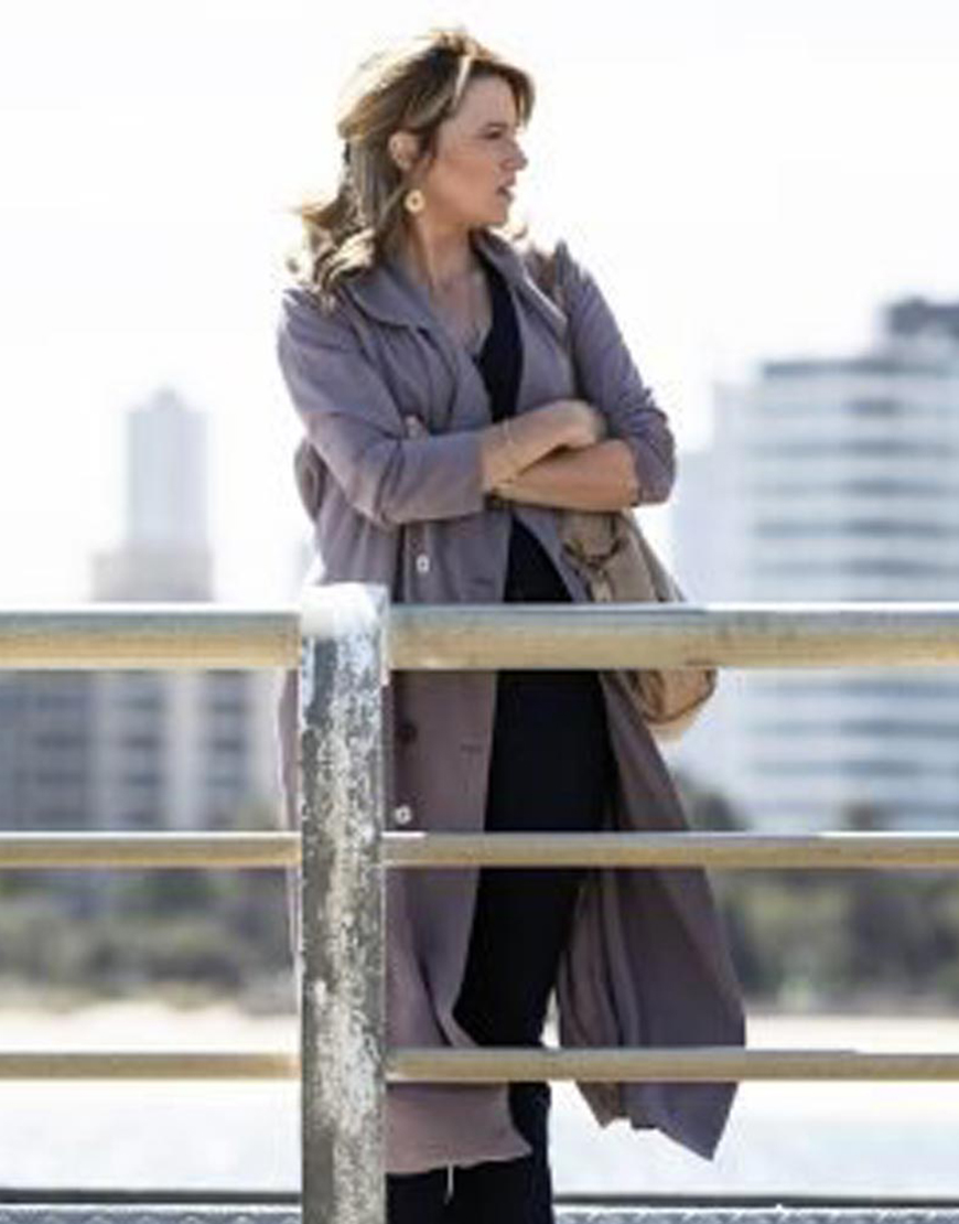 My Life Is Murder S02 Lucy Lawless Coat