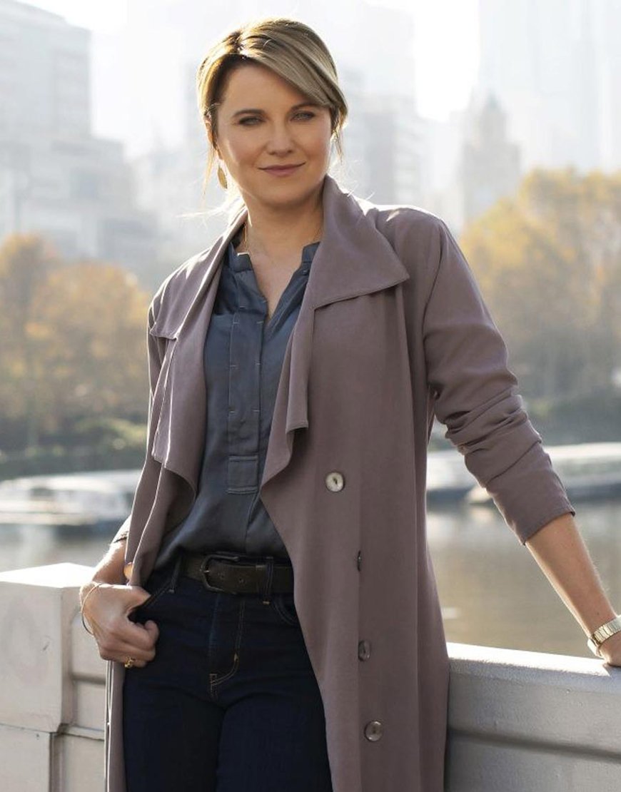 My Life Is Murder S02 Lucy Lawless Trench Coat