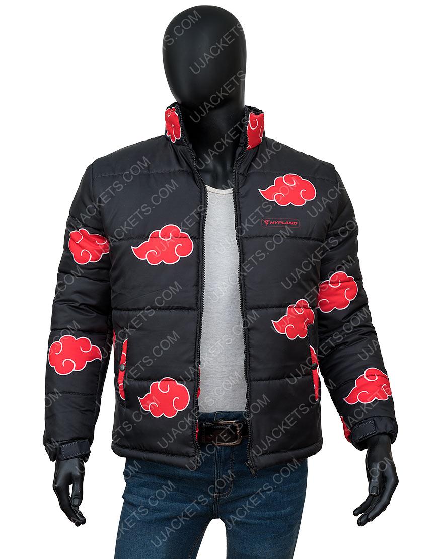 Naruto Akatsuki Black Printed Puffer Jacket