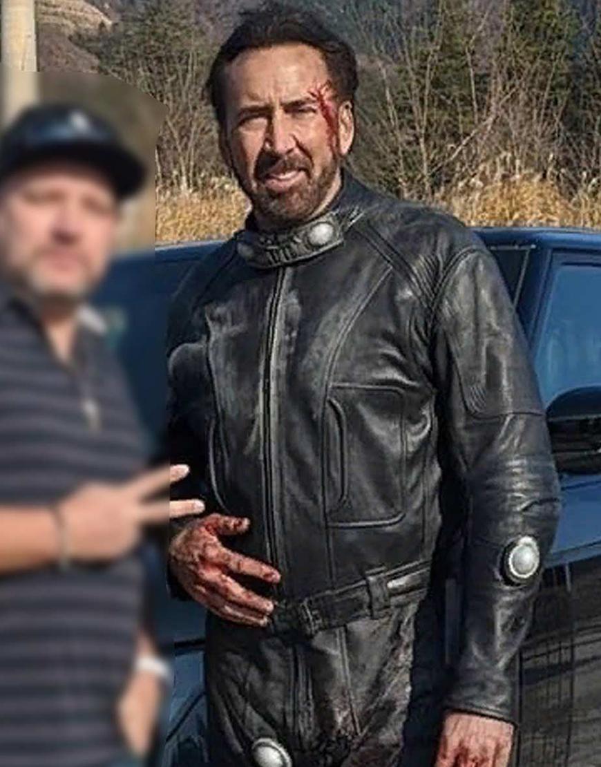 Prisoners of the Ghostland Hero Nicolas Cage Black Leather Jacket