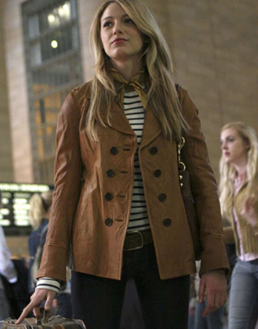 Serena Van Woodsen Gossip Girl Blake Lively Brown Leather Jacket