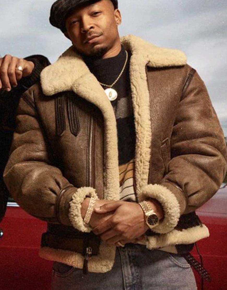 TV Series Powera Book III Raising Kanan 2021 Lou-Lou Malcolm M. Mays Brown Shearling Leather Jacket