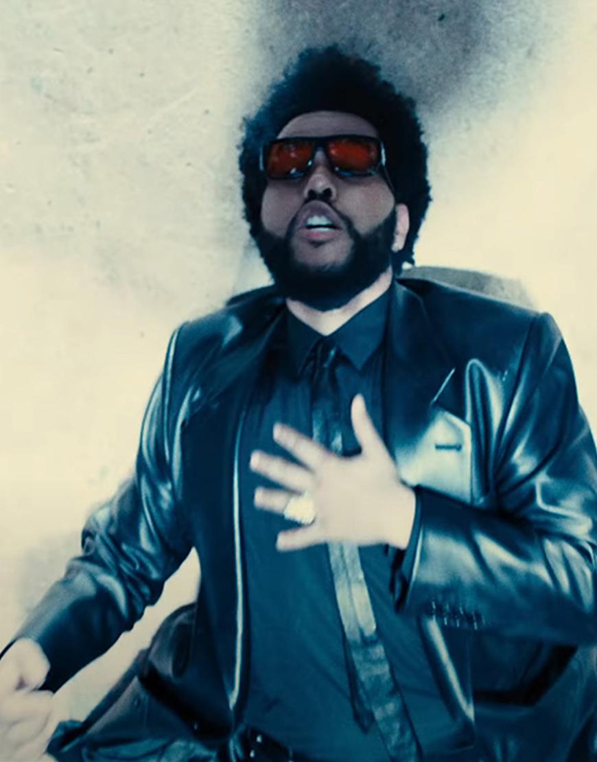 Take My Breath 2021 The Weeknd Black Leather Coat