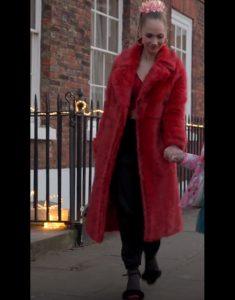 Ted Lasso Juno Temple Red Fur Coat