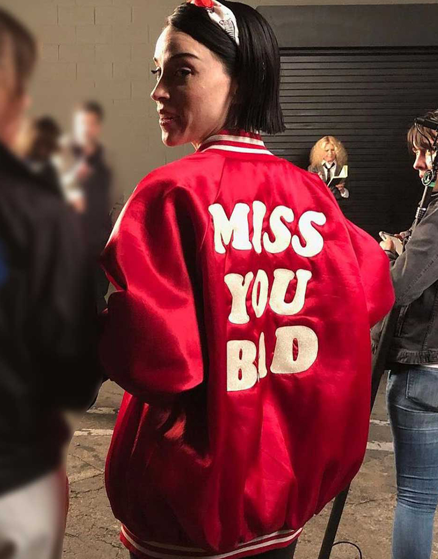 The Nowhere Inn 2021 St. Vincent MISS YOU BAD Red Bomber Jacket
