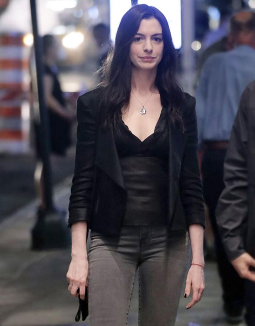 WeCrashed 2022 Anne Hathaway Black Leather Jacket