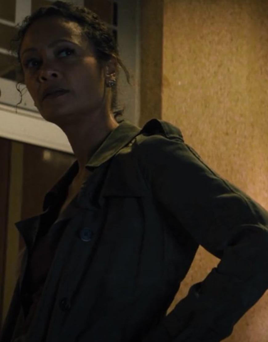Emily 'Watts' Sanders Reminiscence 2021 Thandiwe Newton Grey Coat
