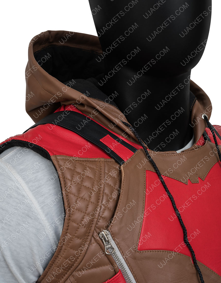 Gotham Knights Red Brown Leather Vest