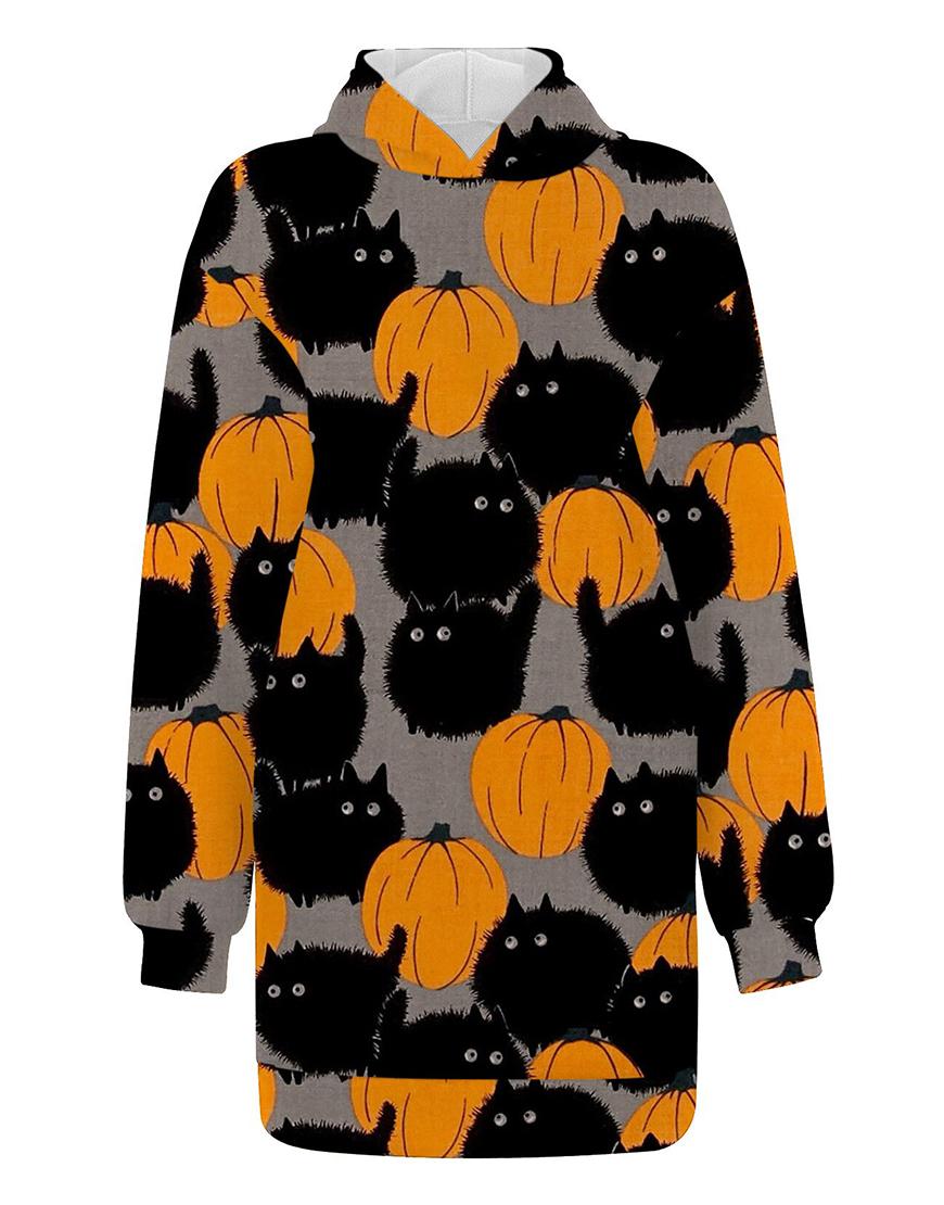 Halloween Black Cat Pumpkin Long Hoodie