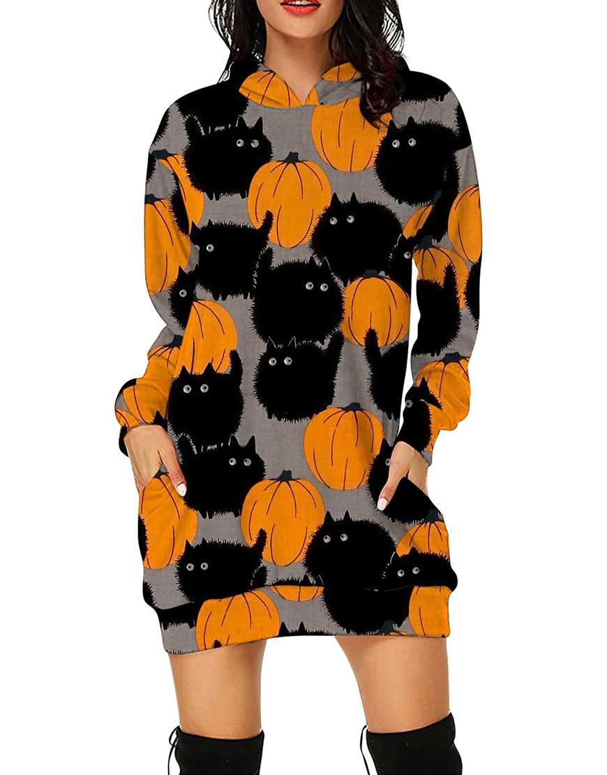 Halloween Black Cat Pumpkin Long Printed Hoodie