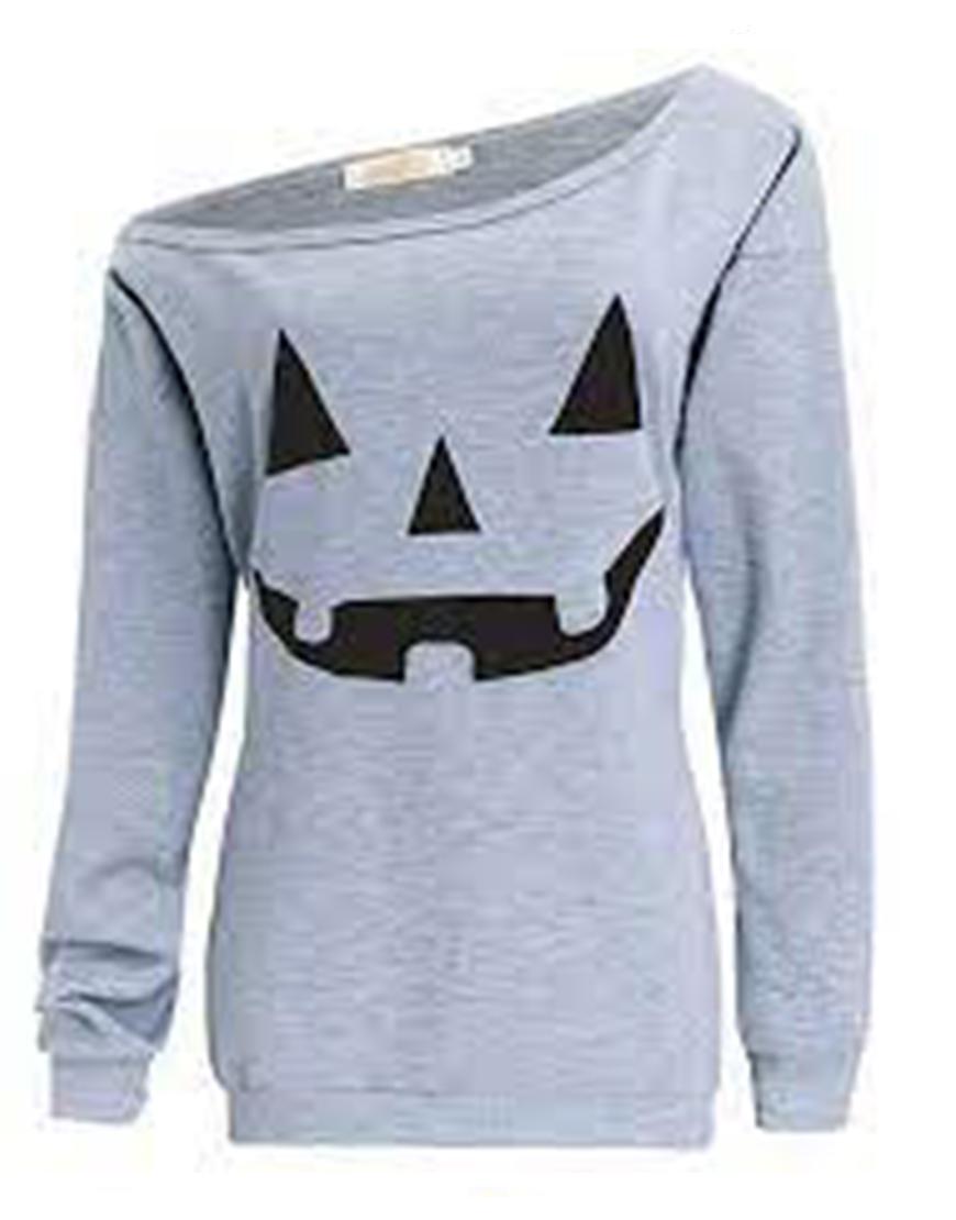 Halloween Slouchy Pumpkin Grey Shirt
