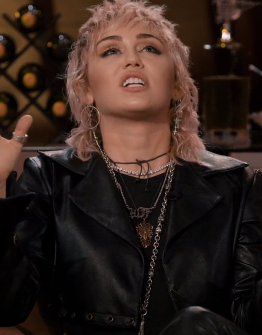 Hart To Heart 2021 Miley Cyrus Black Leather Jacket