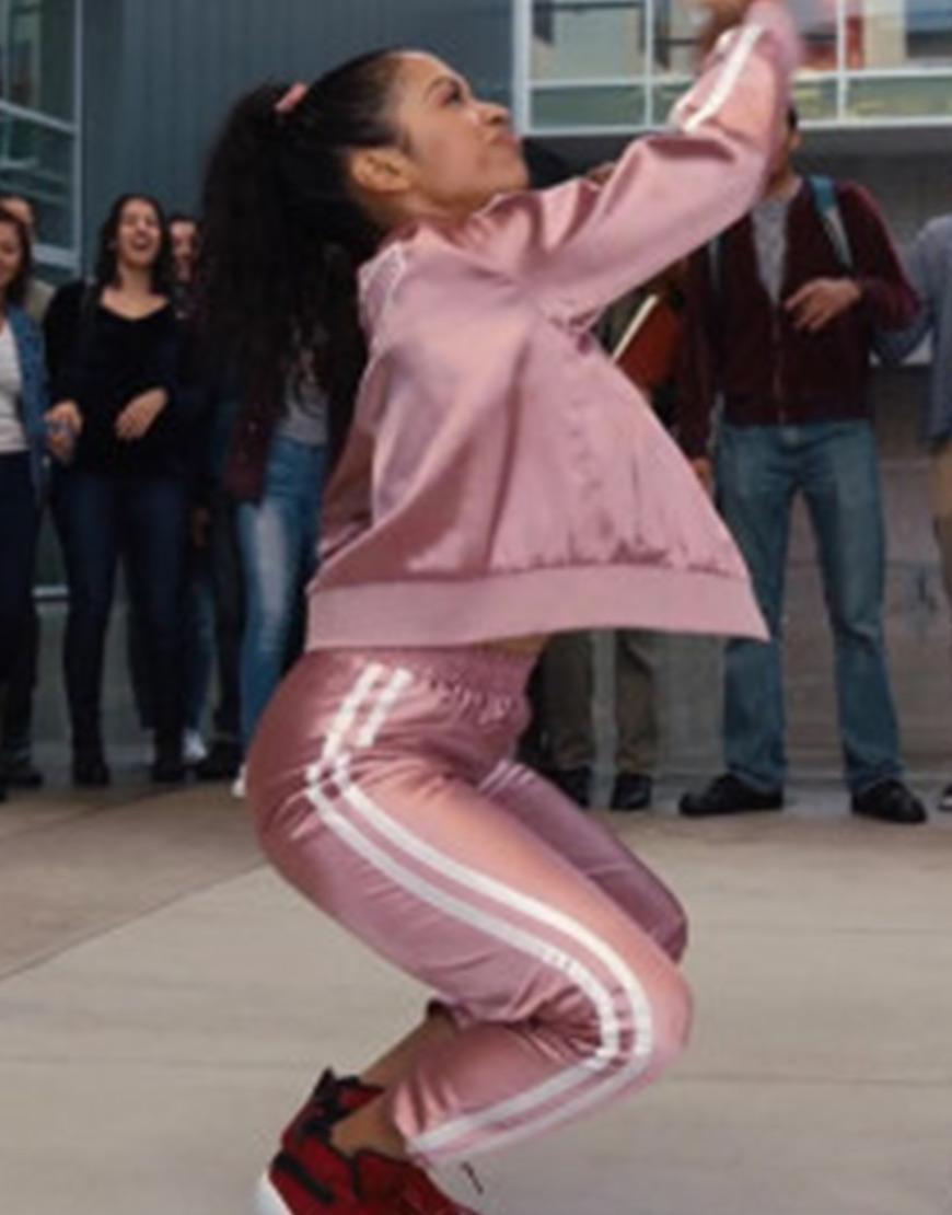 Jasmine Hale Work It Liza Koshy Pink White Striped Tracksuit