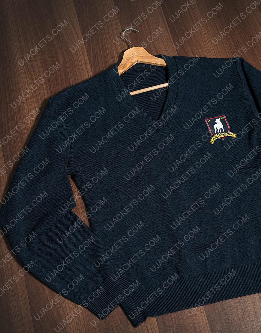 Jason Sudeikis Ted Lasso Blue Woolen Sweater For Men