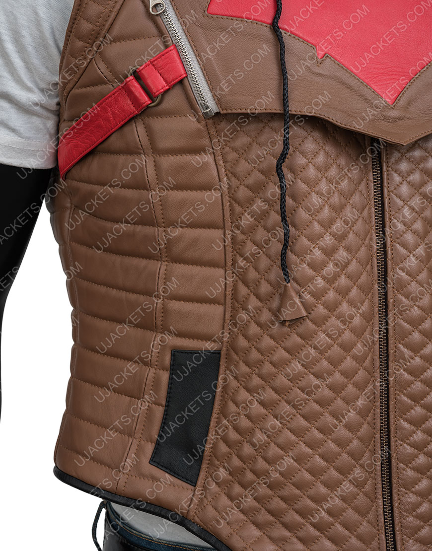 Jason Todd Gotham Knights Hood Brown Leather Vest