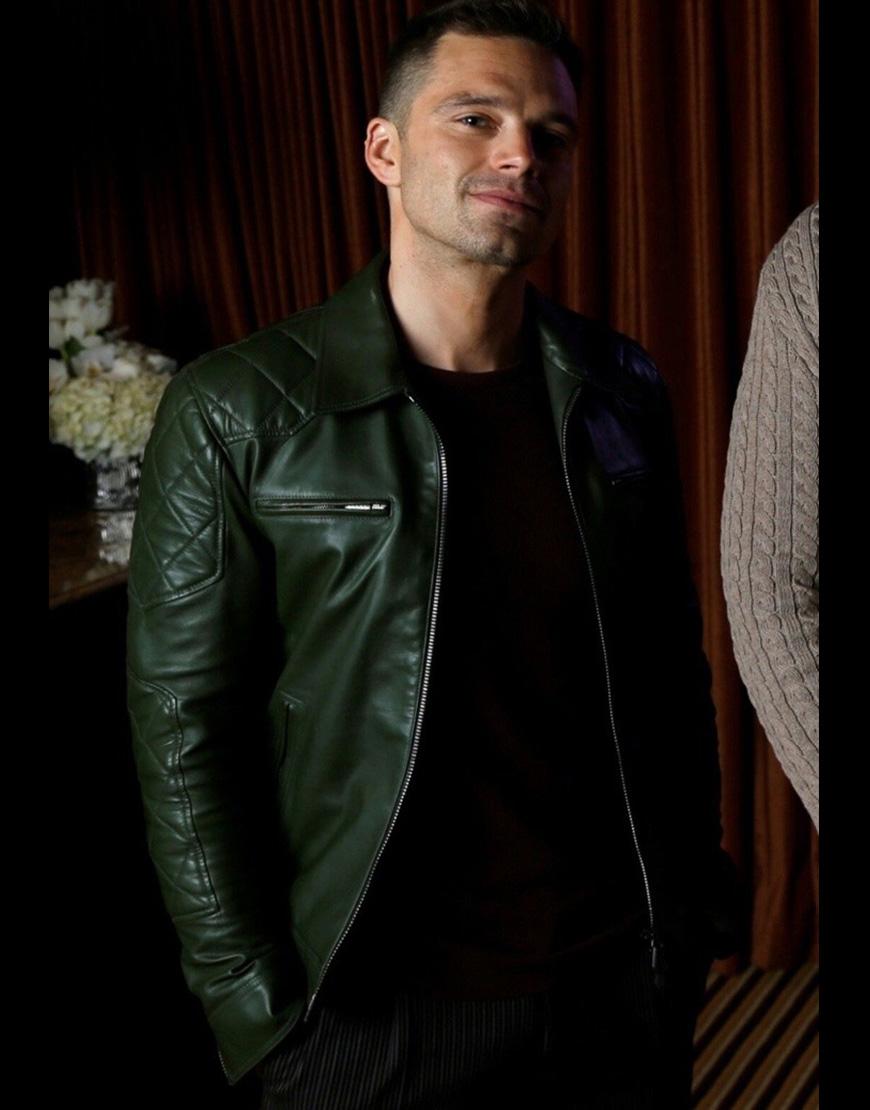 Sebastian Stan Green Quilted Sleeves Leather Bikers Jacket