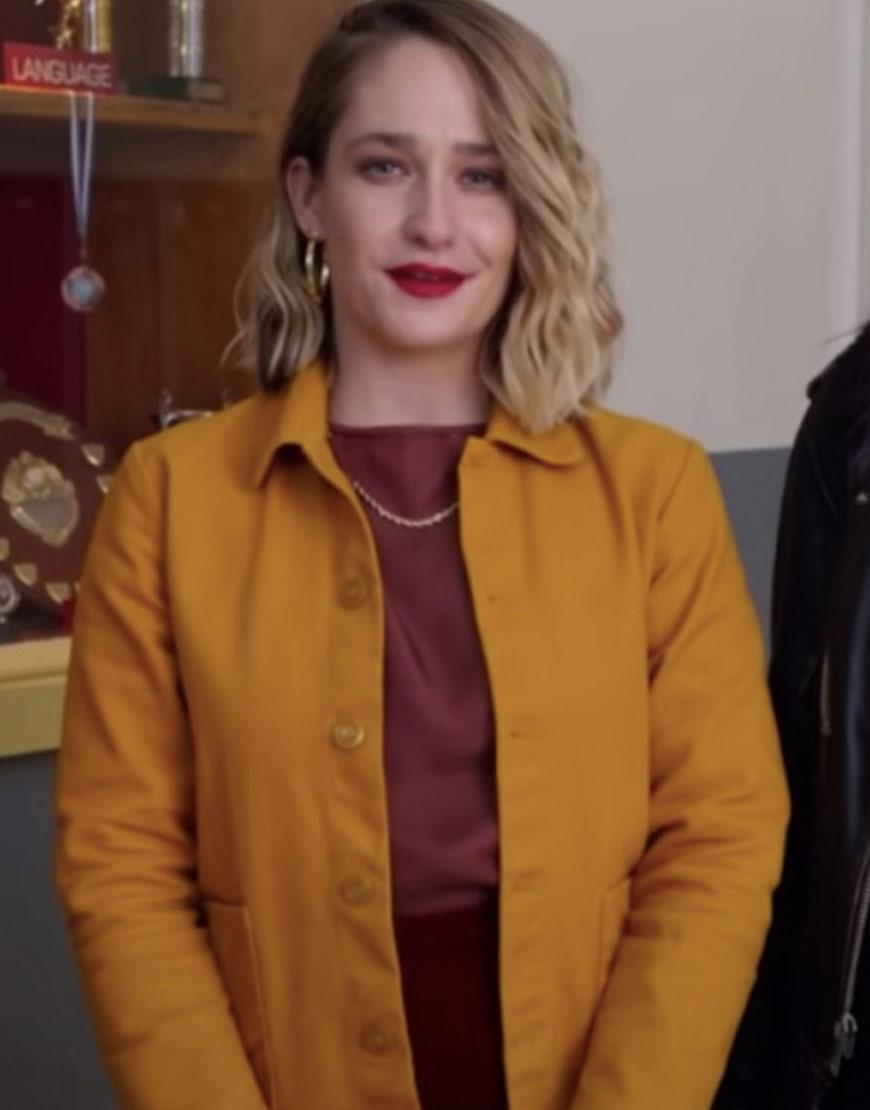 Sex Education S03 Jemima Kirke Yellow Jacket