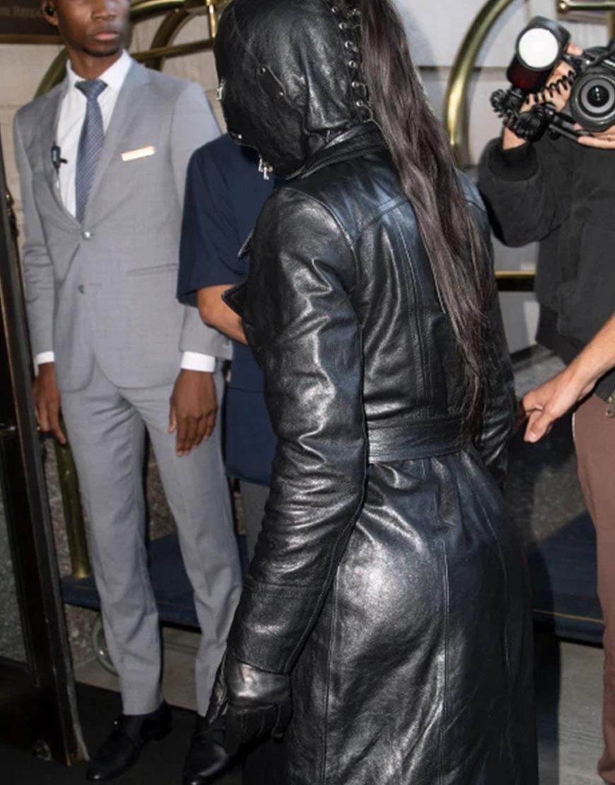The Met Gala 2021 Kim Kardashian Black Belted Leather Coat