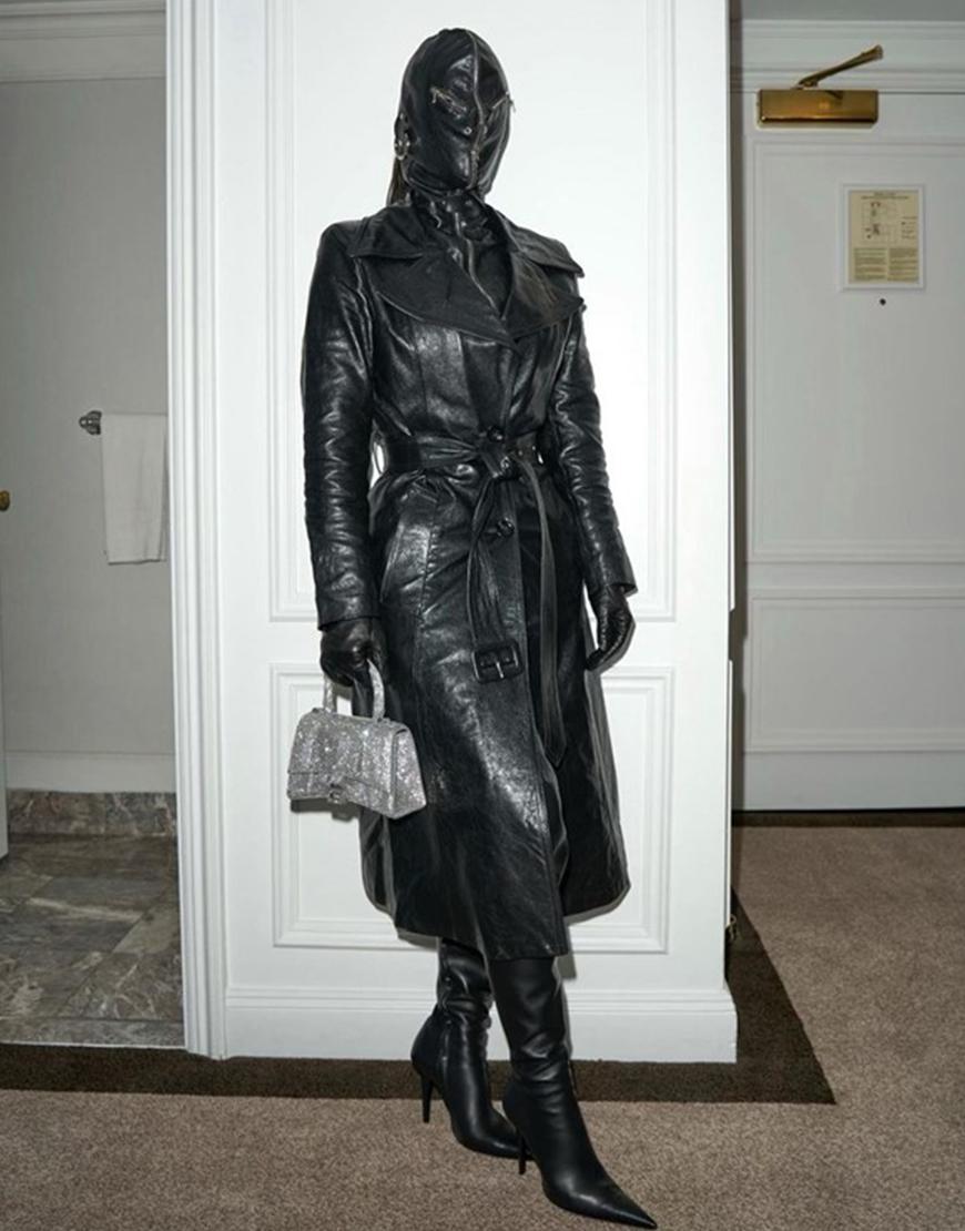 The Met Gala 2021 Kim Kardashian Black Leather Coat