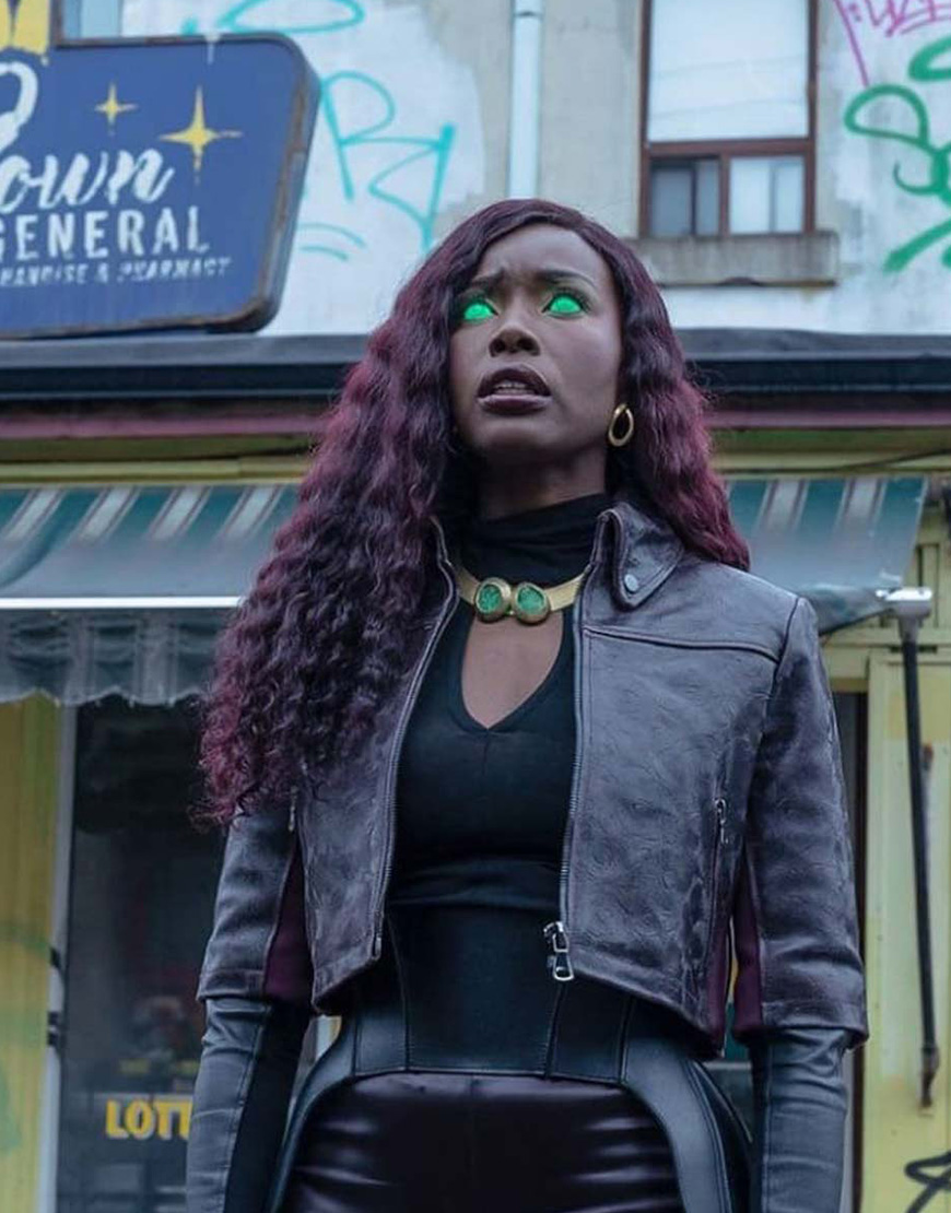 Titans S03 Anna Diop Black Leather Jacket