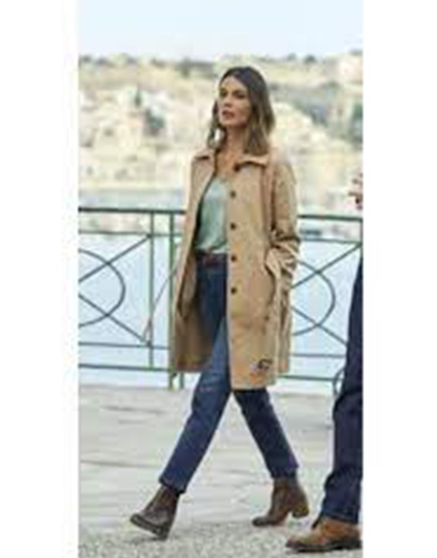 To Catch A Spy 2021 Nathalie Kelley Beige Coat