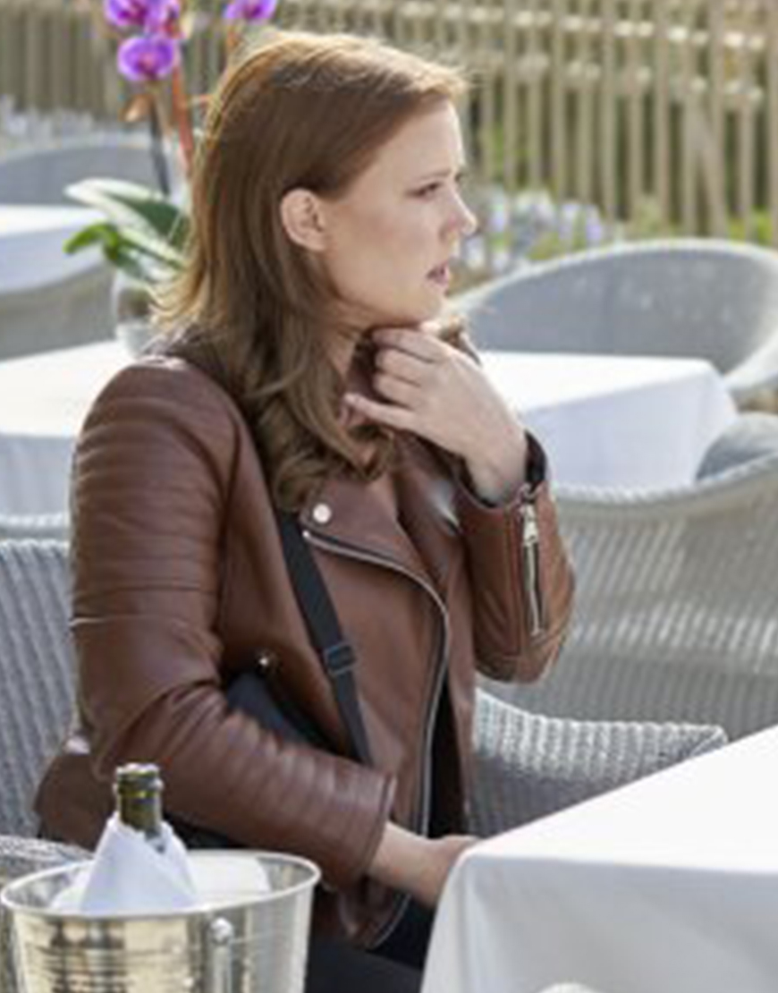 To Catch A Spy 2021 Patti Murin Brown Leather Jacket