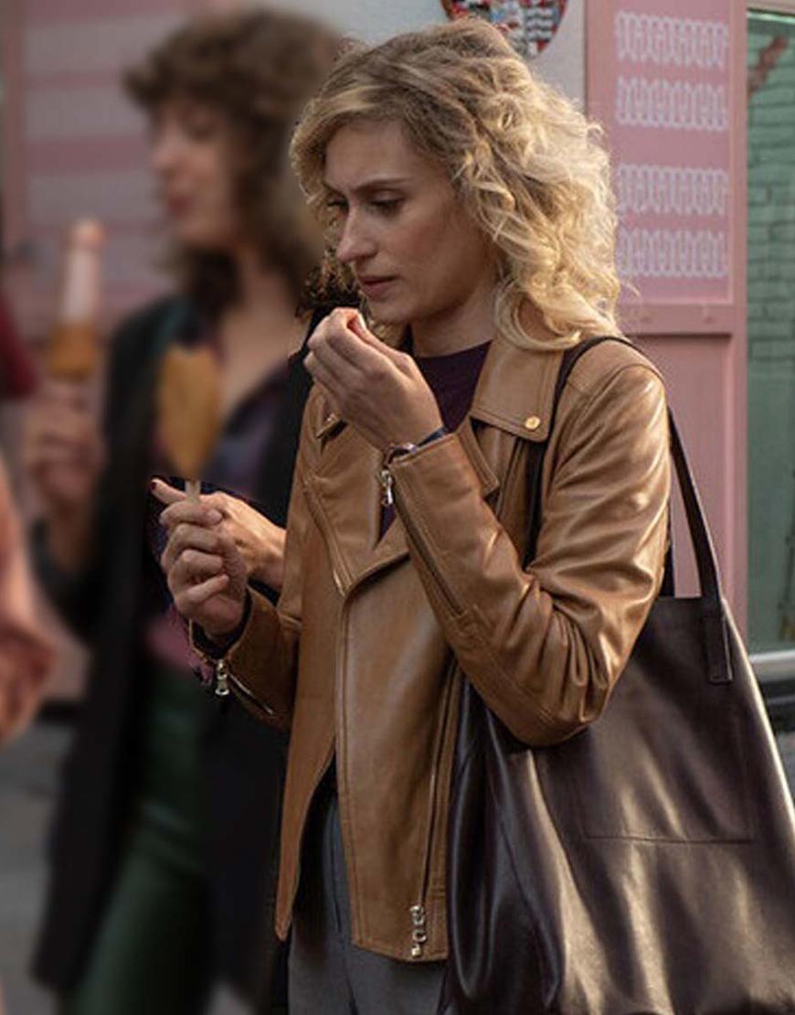 Valeria S02 Teresa Riott Brown Leather Jacket