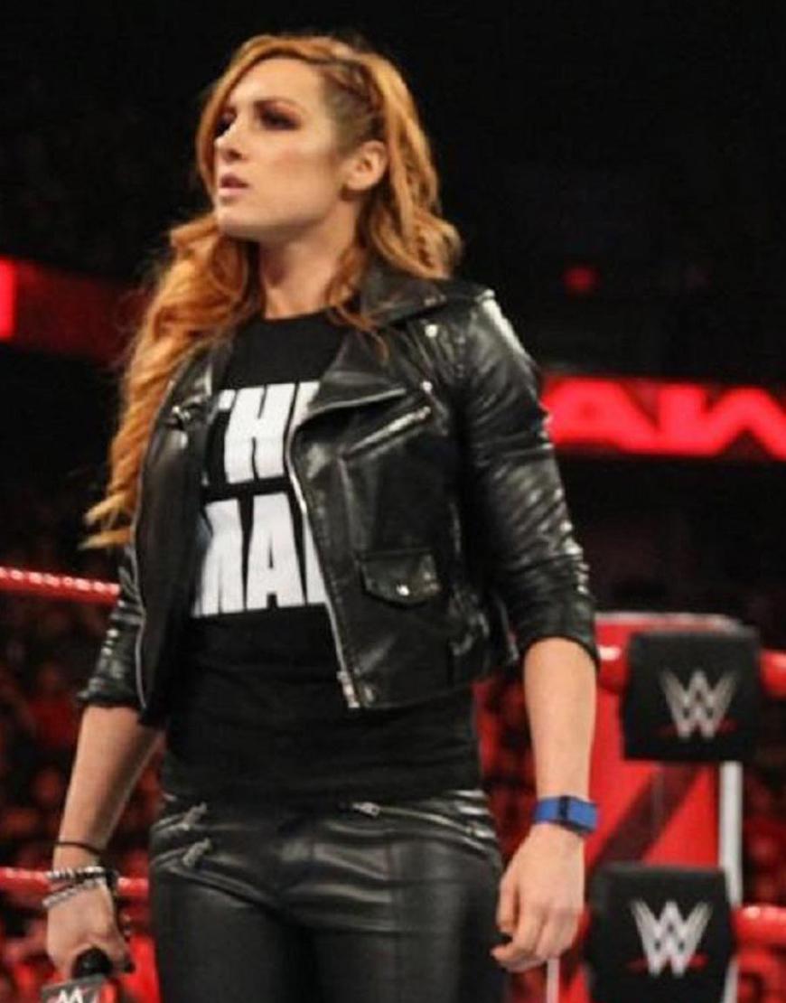 WWE Becky Lynch Black Biker Leather Jacket
