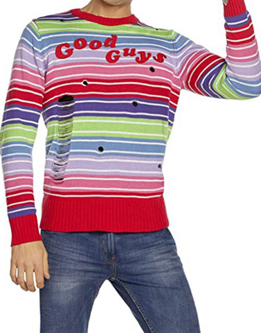 Child's Play Chucky Good Guys Multi-Color Striped Sweater