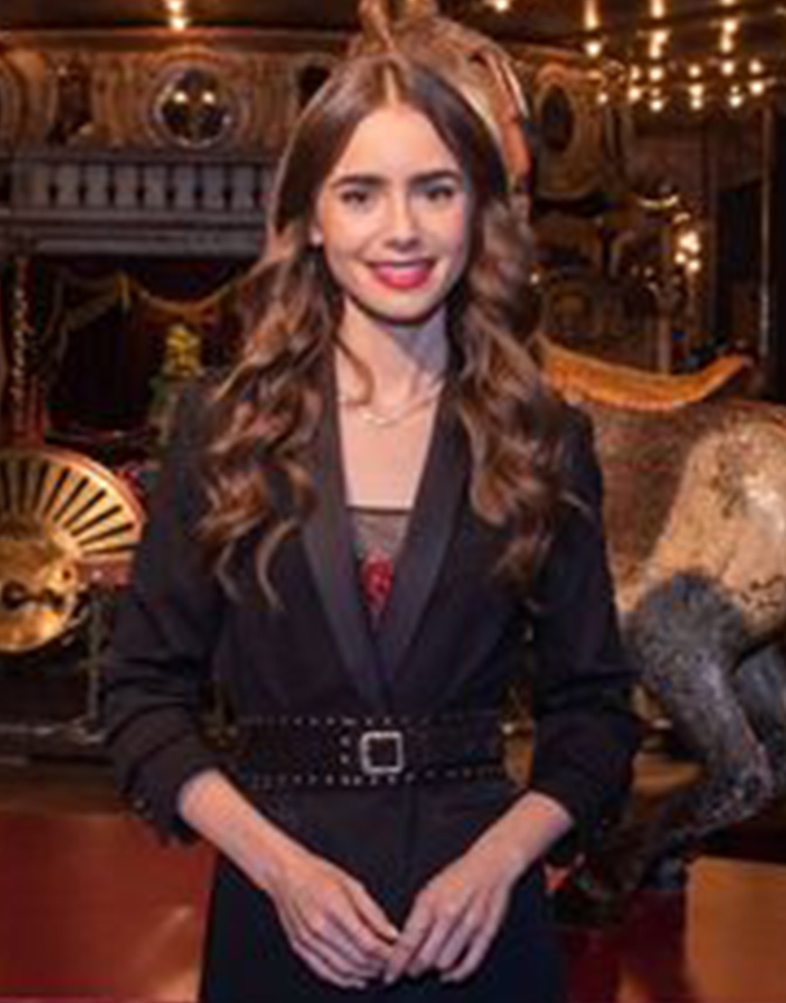 Emily In Paris S02 Lily Collins Black Belted Blazer