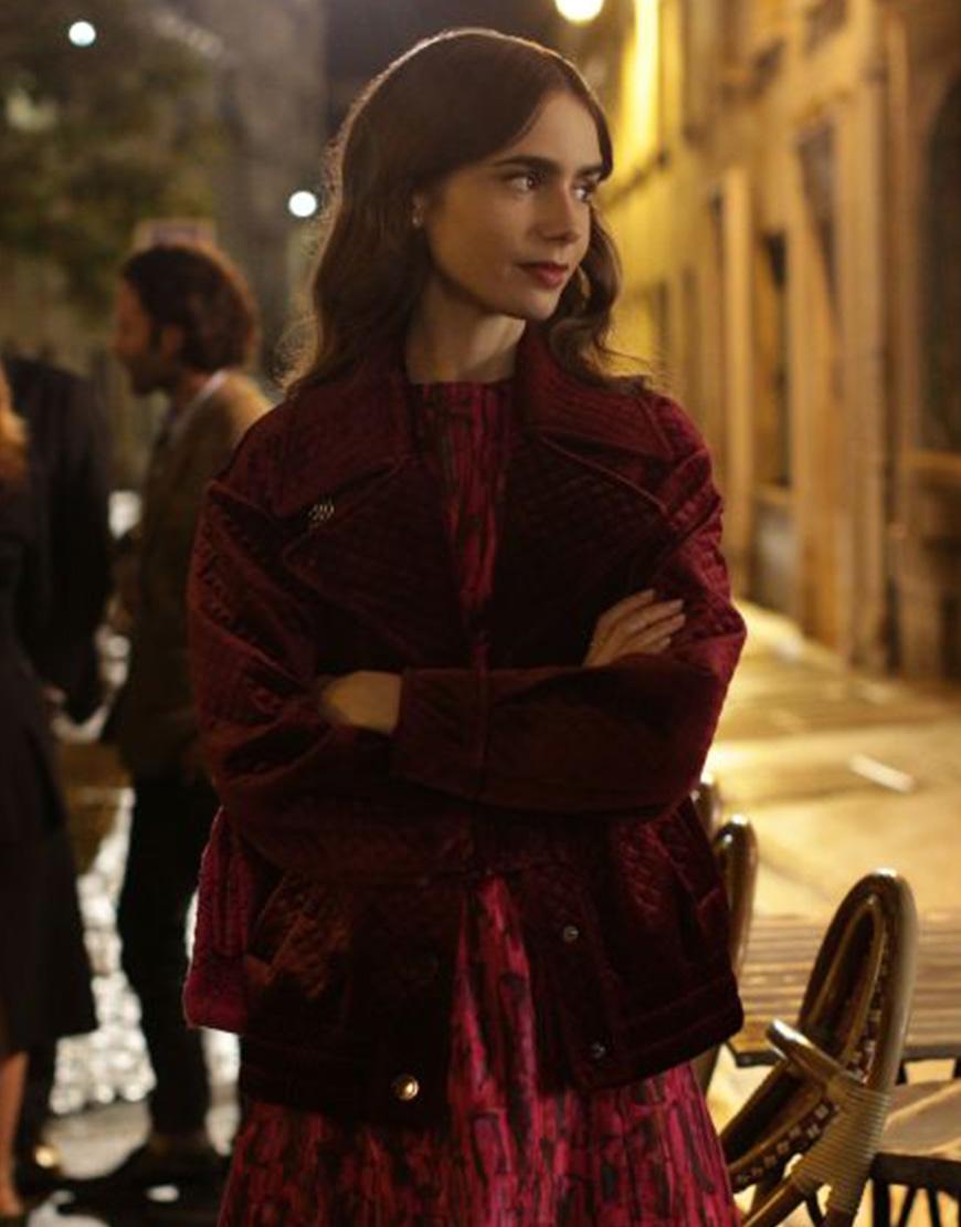 Emily In Paris S02 Lily Collins Maroon Velvet Jacket