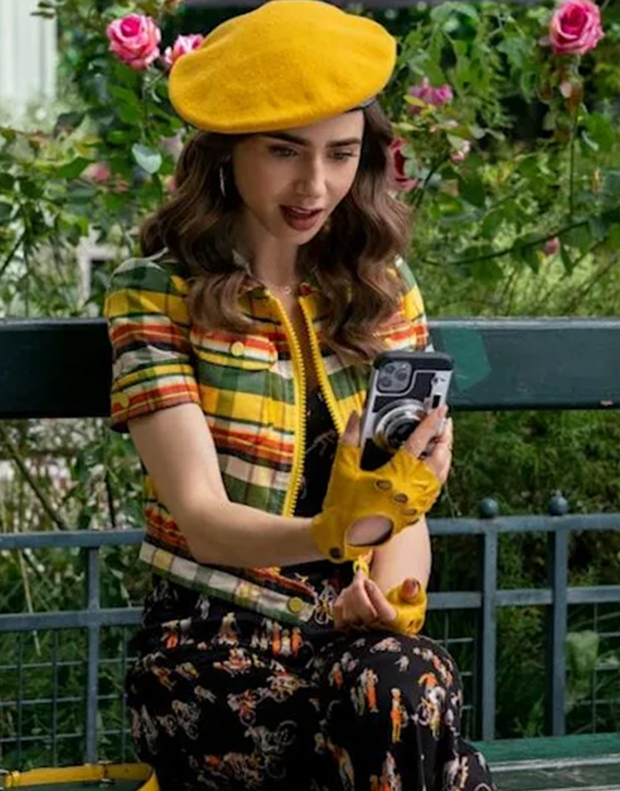 Emily In Paris S02 Lily Collins Yellow Cropped Jacket