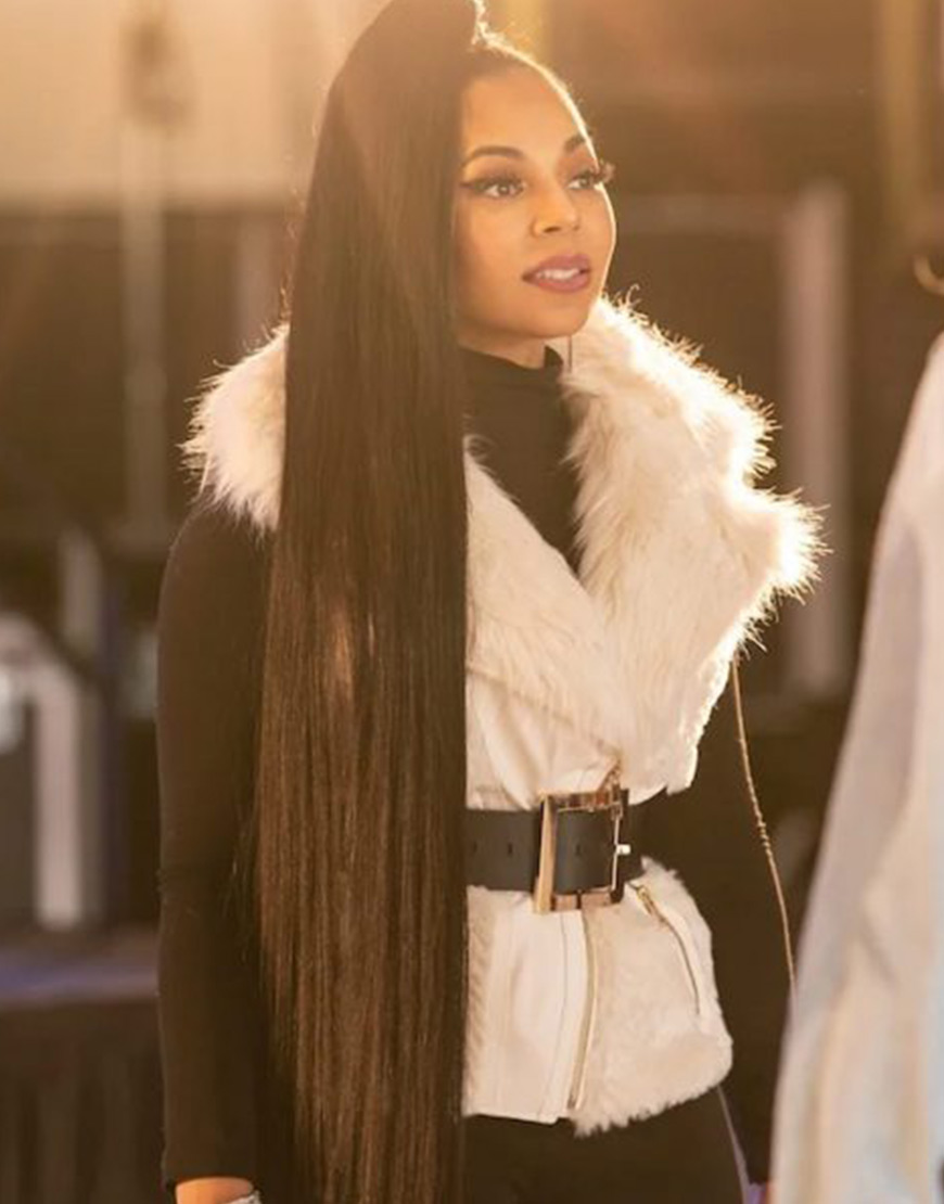 Honey Girls 2021 Ashanti White Fur Vest