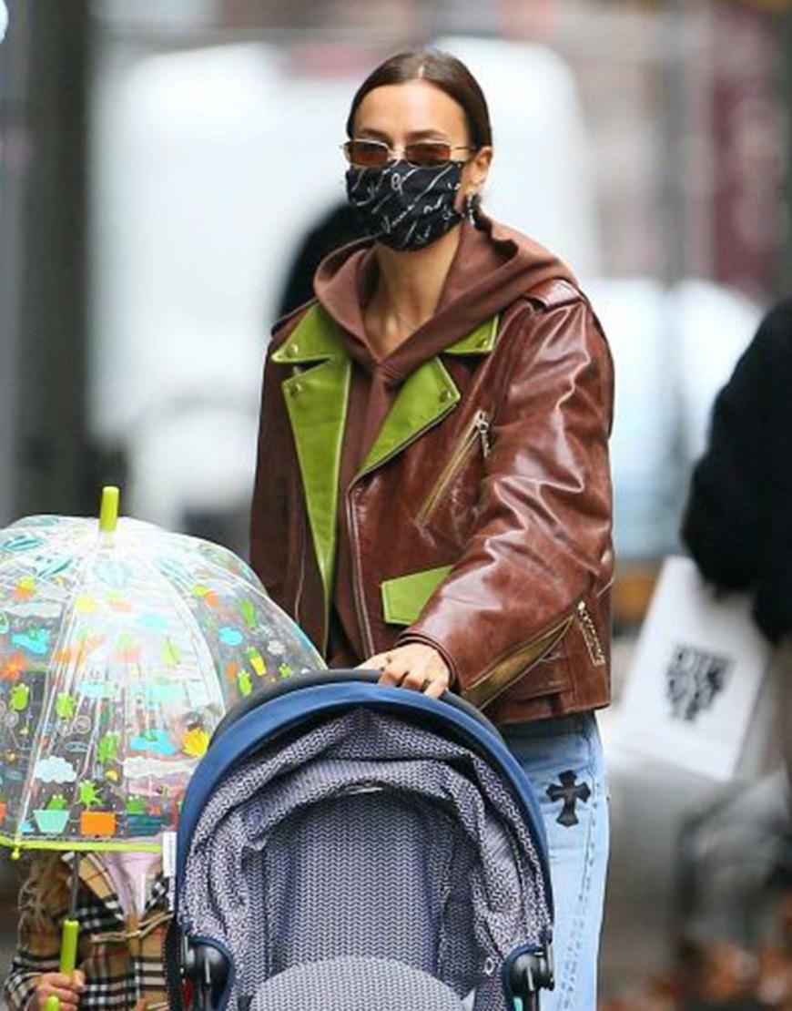 Irina Shayk Brown Leather Jacket