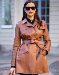 Irina Shayk Brown Leather Trench Coat