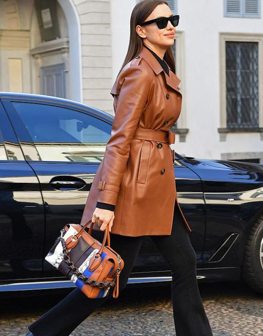 Irina Shayk Street Fashion Belted Leather Trench Coat