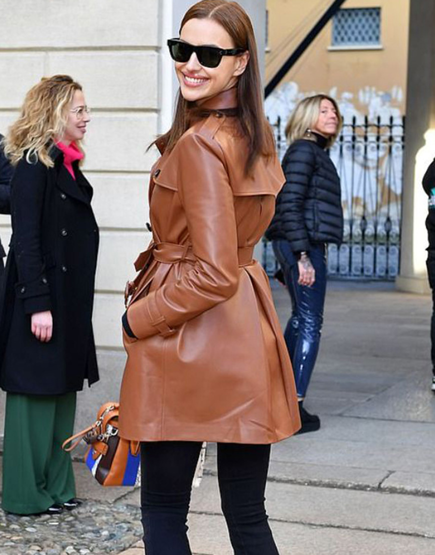 Irina Shayk Street Fashion Brown Belted Leather Trench Coat
