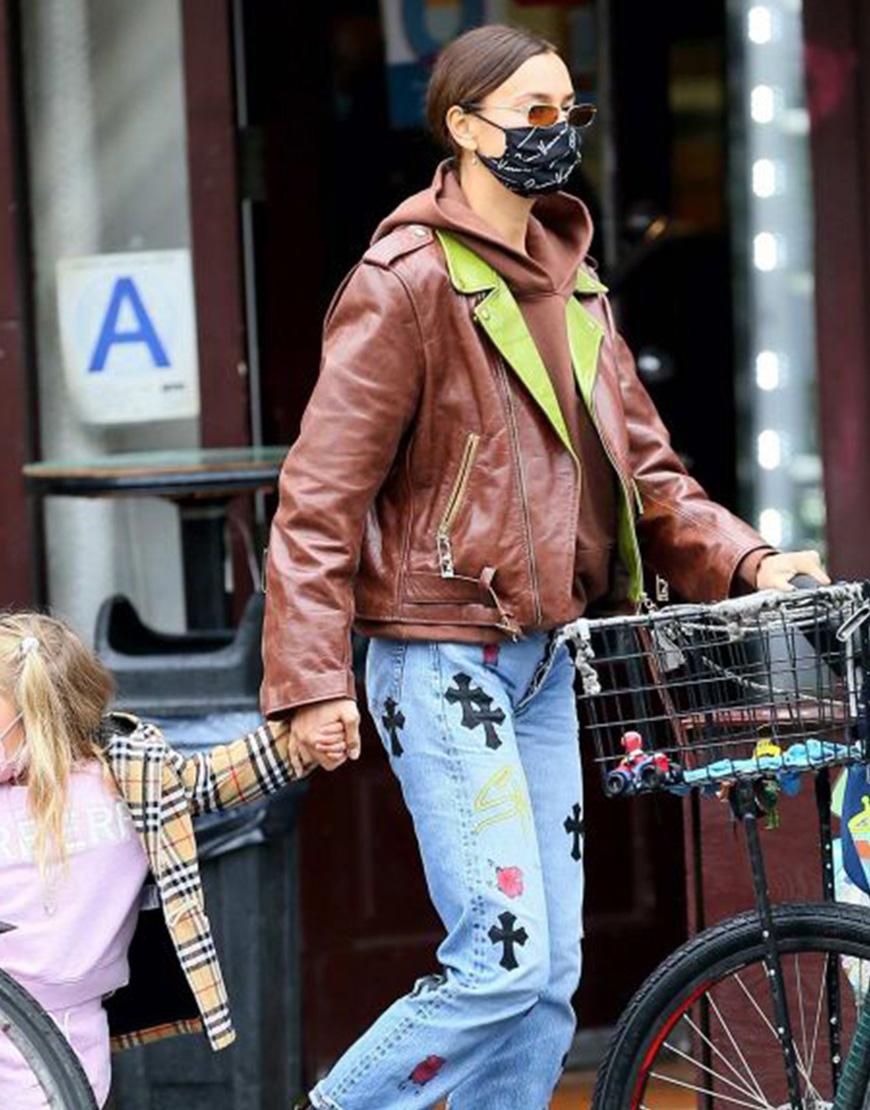 Irina Shayk Street Fashion Brown Leather Jacket