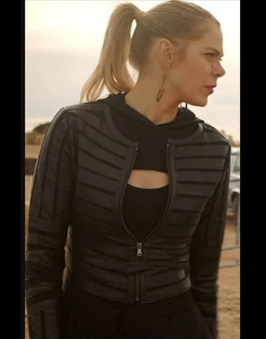Roswell, New Mexico S03 Lily Cowles Striped Black Leather Jacket