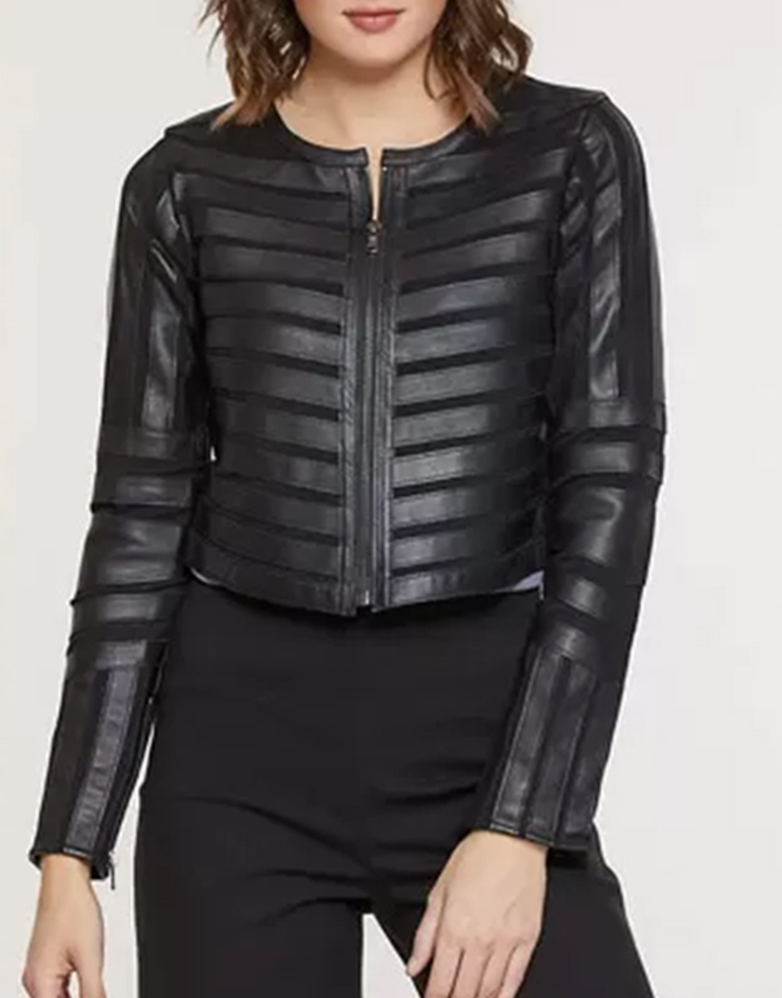 Roswell, New Mexico S03 Lily Cowles Striped Leather Jacket