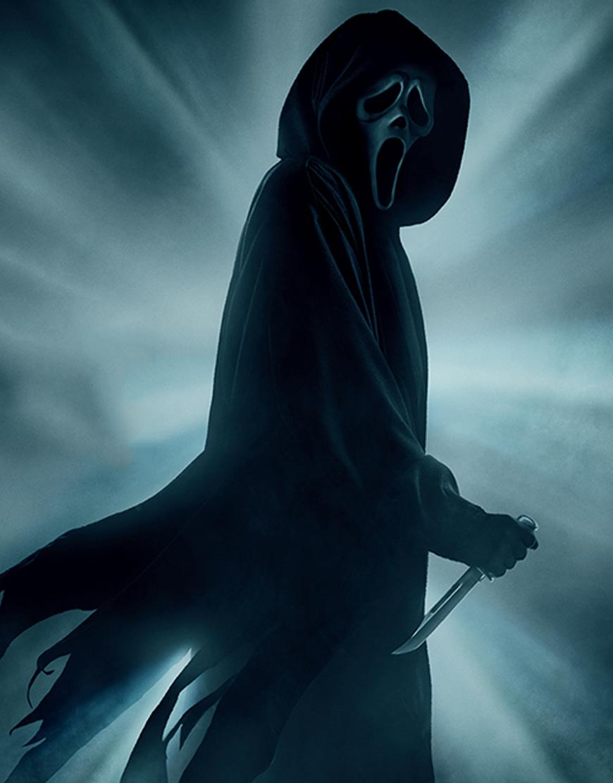 Scream 2022 Ghost Hooded Black Coat