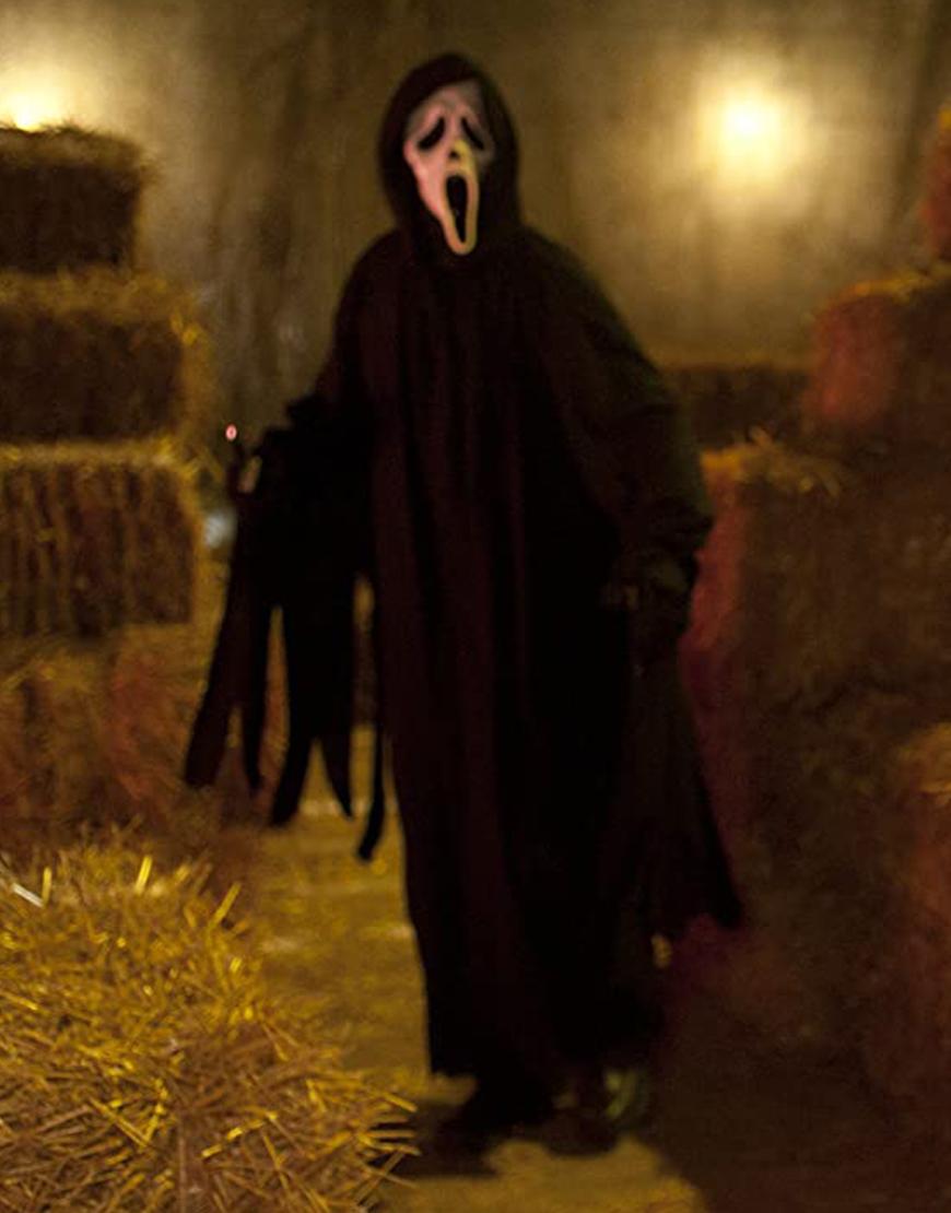 Scream 2022 Ghost Hooded Long Black Coat