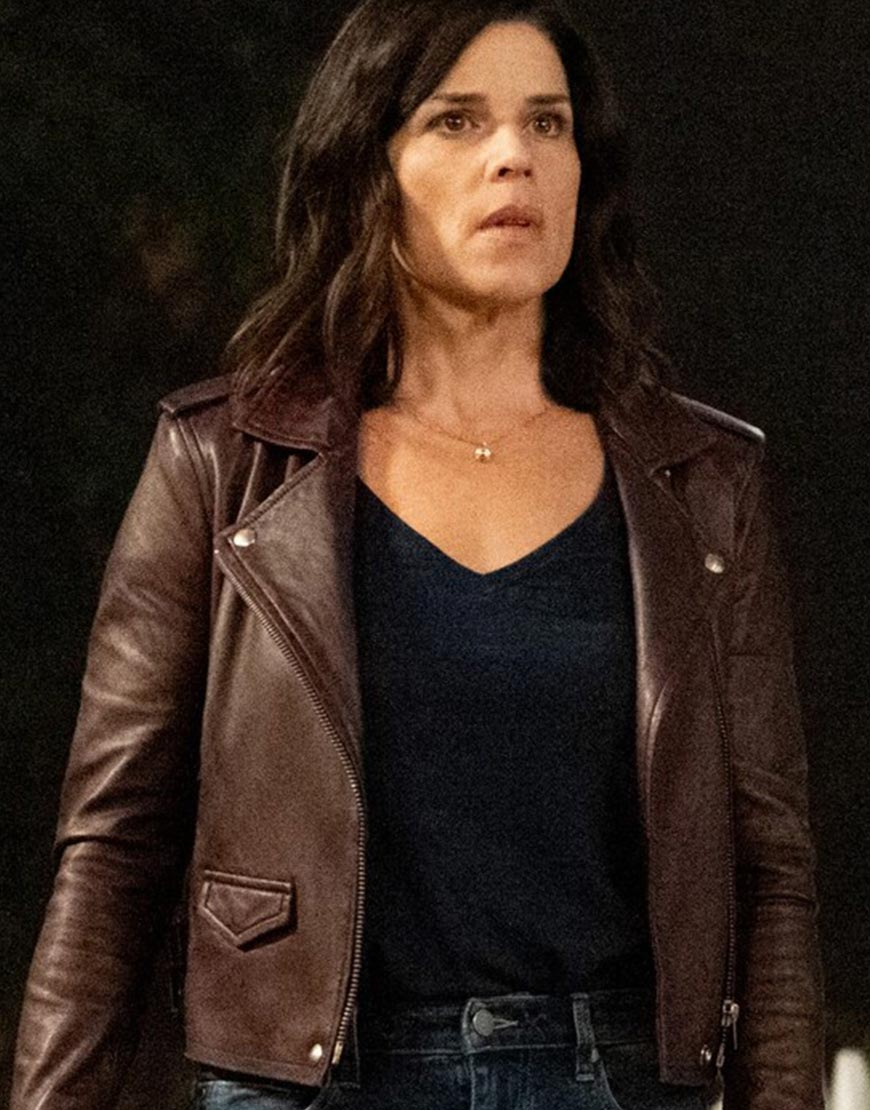 Scream 2022 Neve Campbell Brown Leather Jacket